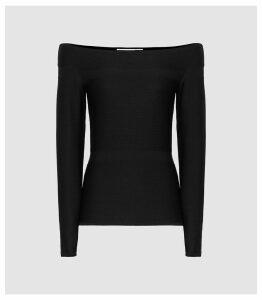 Reiss Marissa - Knitted Bardot Top in Black, Womens, Size XXL
