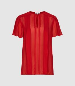 Reiss Millie - Semi Sheer Pleat Detailed Top in Red, Womens, Size 14