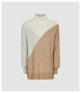 Reiss Divinity - Colour Block Knitted Jumper in Camel, Womens, Size XXL