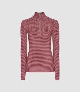 Reiss Finley - Striped Zip Neck Top in Red, Womens, Size M