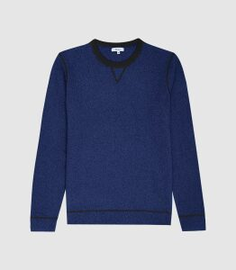 Reiss Allandale - Wool Blend Fluoro Jumper in Navy, Mens, Size XXL