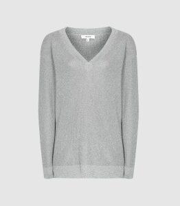Reiss Effie - Metallic V-neck Jumper in Silver, Womens, Size XXL