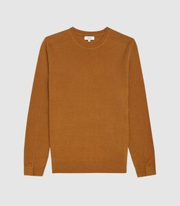 Reiss Jinks - Wool Cashmere Blend Crew Neck Jumper in Camel, Mens, Size S