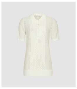 Reiss Alma - Short Sleeved Polo in Cream, Womens, Size XXL