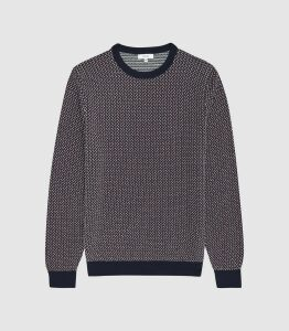 Reiss Luxton - Textured Crew Neck Jumper in Bordeaux, Mens, Size XXL