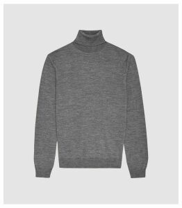 Reiss Caine - Merino Wool Rollneck in Mid Grey Melange, Mens, Size XXL