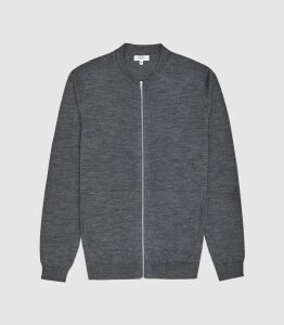 Reiss Aiden - Merino Wool Zip Through Top in Mid Grey Melange, Mens, Size XXL