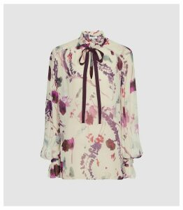 Reiss Rosa - Floral Printed Blouse in Cream, Womens, Size 18
