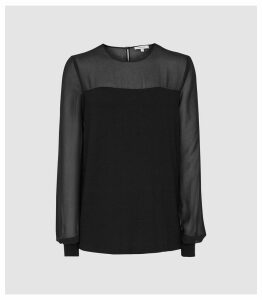 Reiss Melissa - Semi Sheer Detailed Top in Black, Womens, Size XL