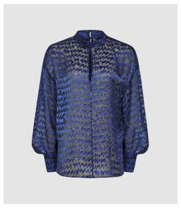Reiss Tilly - Silk Blend Burnout Pattern Blouse in Cobalt, Womens, Size 16