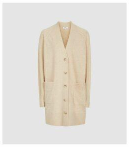 Reiss Rhea - Wool Cashmere Blend Longline Cardigan in Camel, Womens, Size XXL