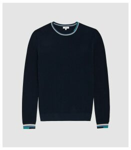 Reiss Amble - Textured Crew Neck Jumper in Navy, Mens, Size XL