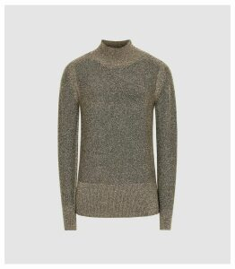 Reiss Jemima - Metallic Roll Neck Jumper in Gold, Womens, Size XXL