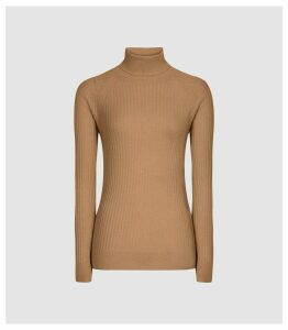 Reiss Opal - Wool Alpaca Blend Rollneck in Camel, Womens, Size L