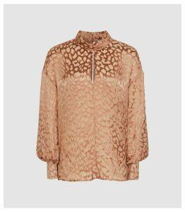 Reiss Ella - Semi Sheer Burnout Blouse in Blush, Womens, Size 16