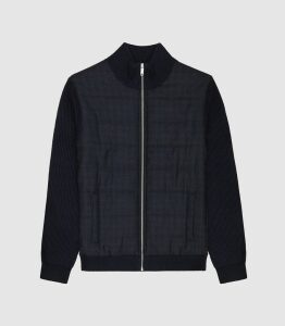 Reiss Amigo - Zip Through Quilted Jumper in Navy, Mens, Size XXL