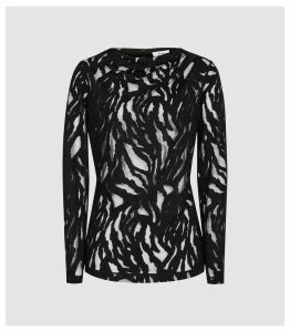 Reiss Faye - Burnout Jersey Top in Black, Womens, Size XL