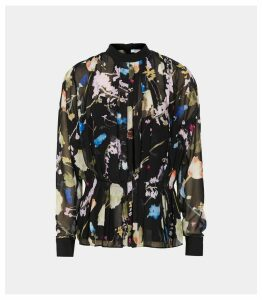 Reiss Kiri - Floral Print Chiffon Blouse in Black, Womens, Size 16