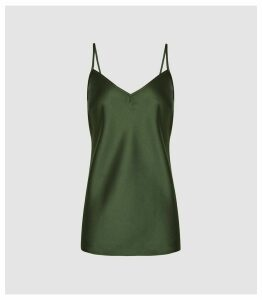Reiss Milas - Metallic Cami in Green, Womens, Size 16
