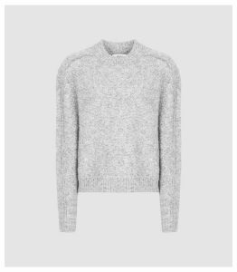Reiss Lark - Cropped Brush-knit Jumper in Grey, Womens, Size XXL