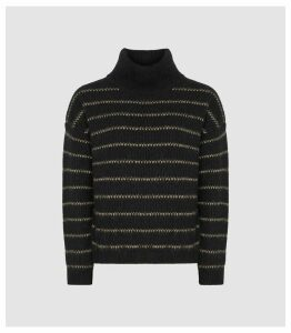 Reiss Cammie - Wool Blend Striped Jumper in Black/camel, Womens, Size XXL