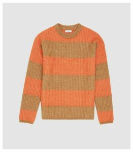 Reiss Frazer - Color Block Striped Jumper in Camel, Mens, Size XXL