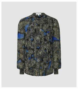 Reiss Lea - Jungle Printed Blouse in Blue/green, Womens, Size 16
