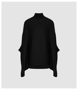 Reiss Lolita - Roll Neck Batwing Jumper in Black, Womens, Size XXL