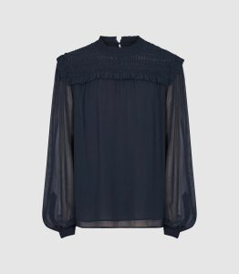 Reiss Anoushka - Semi Sheer Pleat Detailed Blouse in Navy, Womens, Size 16