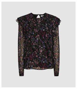 Reiss Faiza - Floral Printed Ruffle Neck Blouse in Black, Womens, Size 16