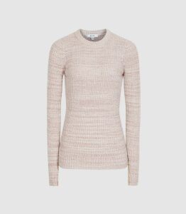 Reiss Suri - Ribbed Crew Neck Jumper in Pink, Womens, Size XL