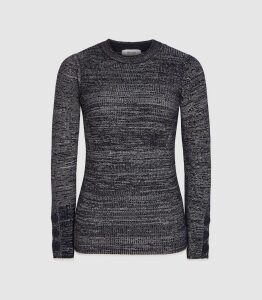 Reiss Sierra - Melange Crew Neck Jumper in Navy, Womens, Size XL