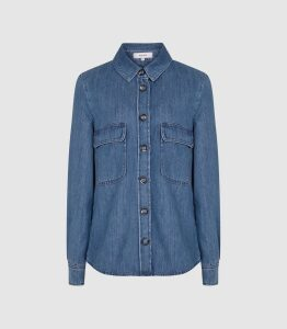Reiss Mabel - Denim Shirt in Blue, Womens, Size 16