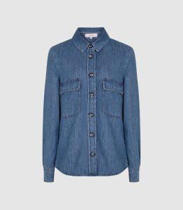 Reiss Mabel - Denim Shirt in Blue, Womens, Size 16