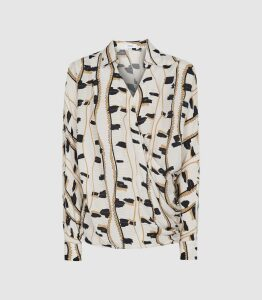 Reiss March - Printed Wrap Front Blouse in Neutral, Womens, Size 16