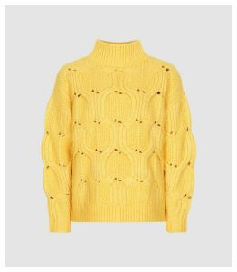 Reiss Eta - Funnel Neck Knitted Jumper in Yellow, Womens, Size XXL