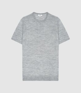 Reiss Wiltshire - Merino Crew Neck Top in Soft Grey, Mens, Size XXL