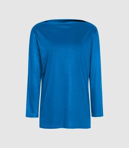 Reiss Marilyn - Straight Neck Top in Cobalt Blue, Womens, Size XL