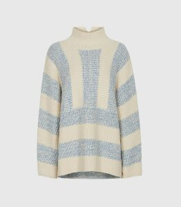 Reiss Astrid - Striped Oversized Jumper in Cream, Womens, Size XL