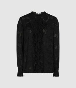 Reiss Arleigh - Ruffle Detailed Jacquard Blouse in Black, Womens, Size 16