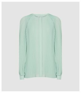 Reiss Editha - Pleat Detailed Blouse in Aqua, Womens, Size 16