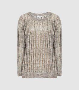 Reiss Polly - Open-knit Jumper in Multi, Womens, Size XL