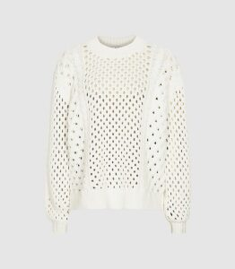 Reiss Lauren - Chunky Open-knit Jumper in Cream, Womens, Size XL