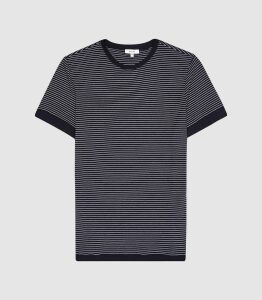 Reiss Ray - Striped Crew Neck T-shirt in Navy/white, Mens, Size XXL
