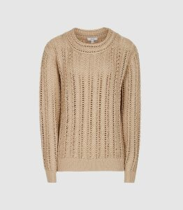 Reiss Silvie - Open-knit Cotton Jumper in Beige, Womens, Size XL