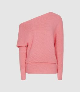 Reiss Ava - Draped Ribbed-knit Jumper in Pink, Womens, Size XL
