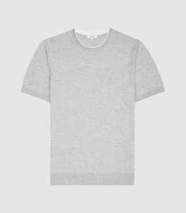 Reiss Romer - Knitted Crew Neck Top in Grey Melange, Mens, Size XXL