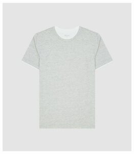 Reiss Walter - Cotton T-shirt With Double-layer Detail in Grey, Mens, Size XXL
