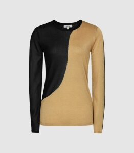 Reiss Adele - Colour Block Crew Neck Jumper in Black/gold, Womens, Size XXL