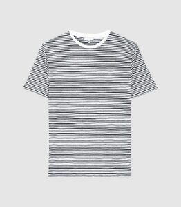Reiss Exeter - Striped Towelling T-shirt in White/navy, Mens, Size XXL